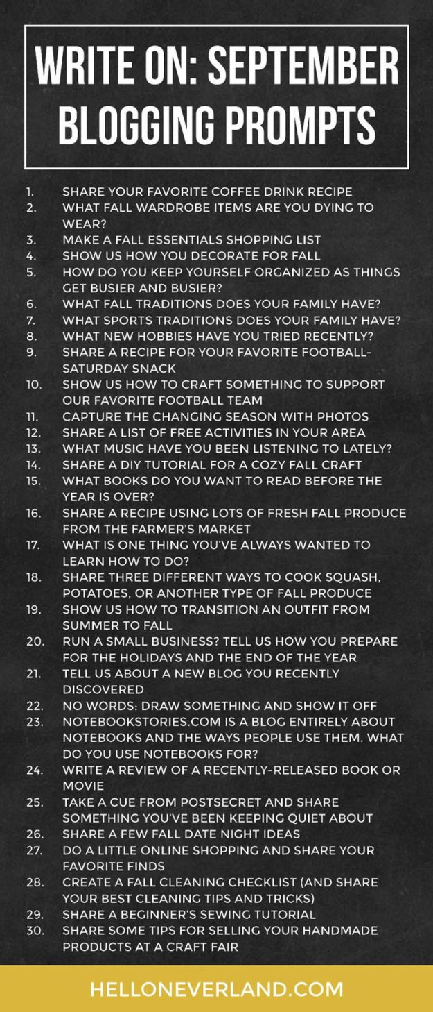 September Blogging Prompts